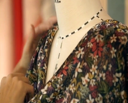 Heather's draped neckline