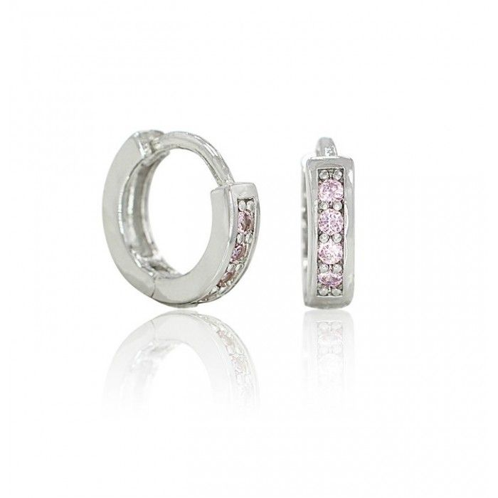 Baby And Children S Earrings 18k White Gold Filled Pink Cz Huggies