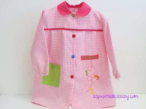 Bata escolar mod. School color rosa-blanco Babis Guarderia efd9b90e60f1