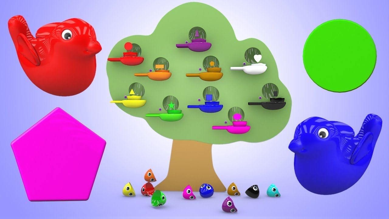 Learn Colors and Shapes for Children with Tree Bird Nest Color Eggs ...