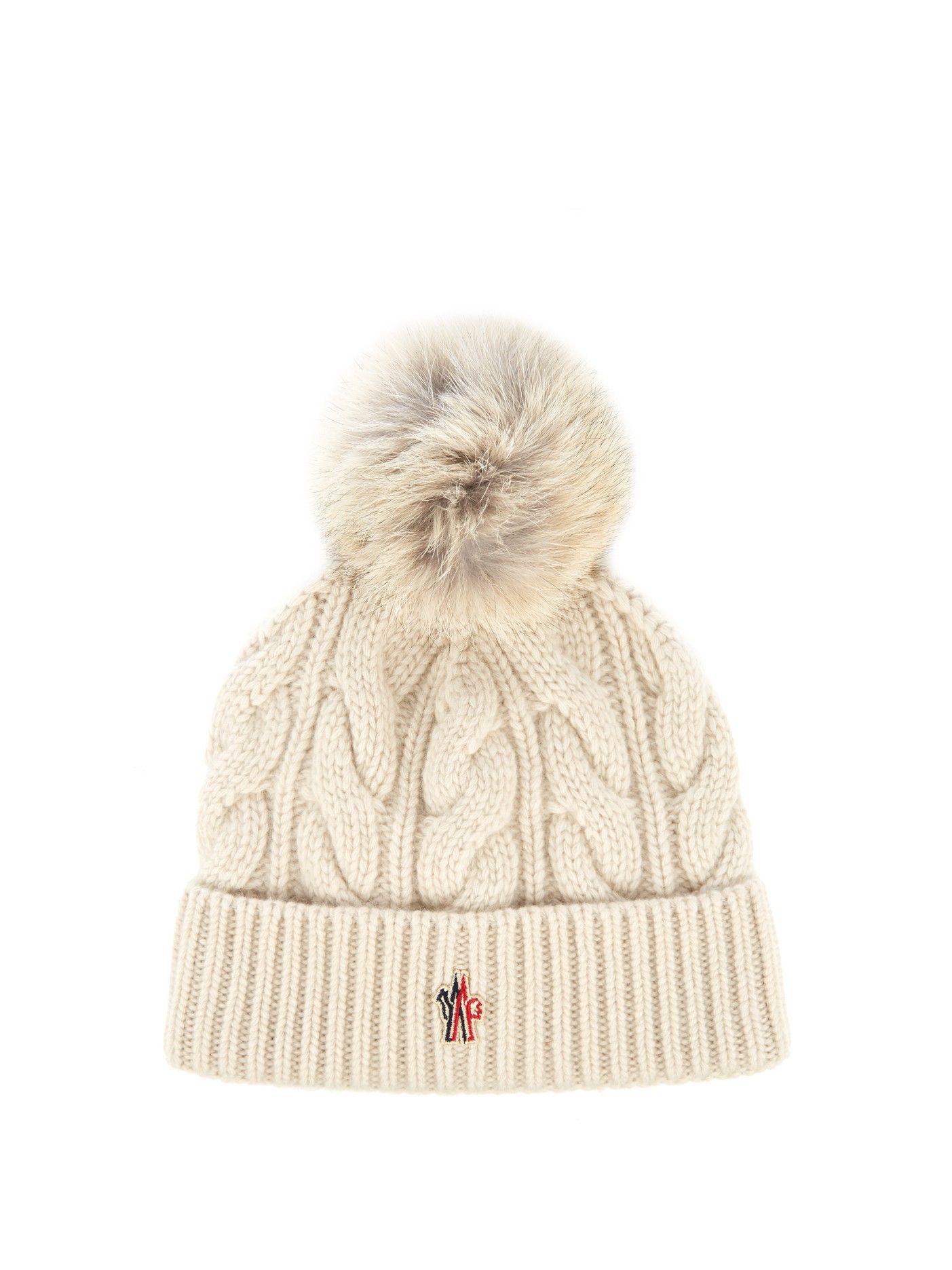 Fur-pompom knitted beanie hat  f37c5fda753e