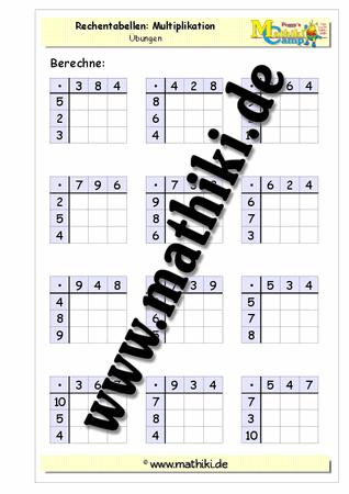 Rechentabellen: Multiplikation gemischt - www.mathiki.de - Ihre ...