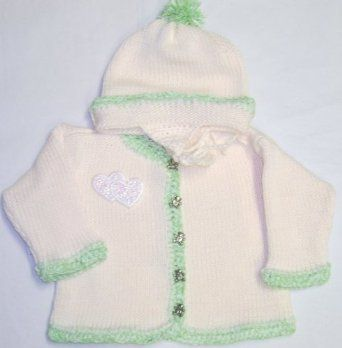 Ck601, Knitted on Hand Knitting Machine Ivory Cotton Trimmed By Hand Crochet with Mint Chenille Cardigan Hat Infant Children with Sequin Double Heart Appliqué' (18-24mo) Gita. $52.99
