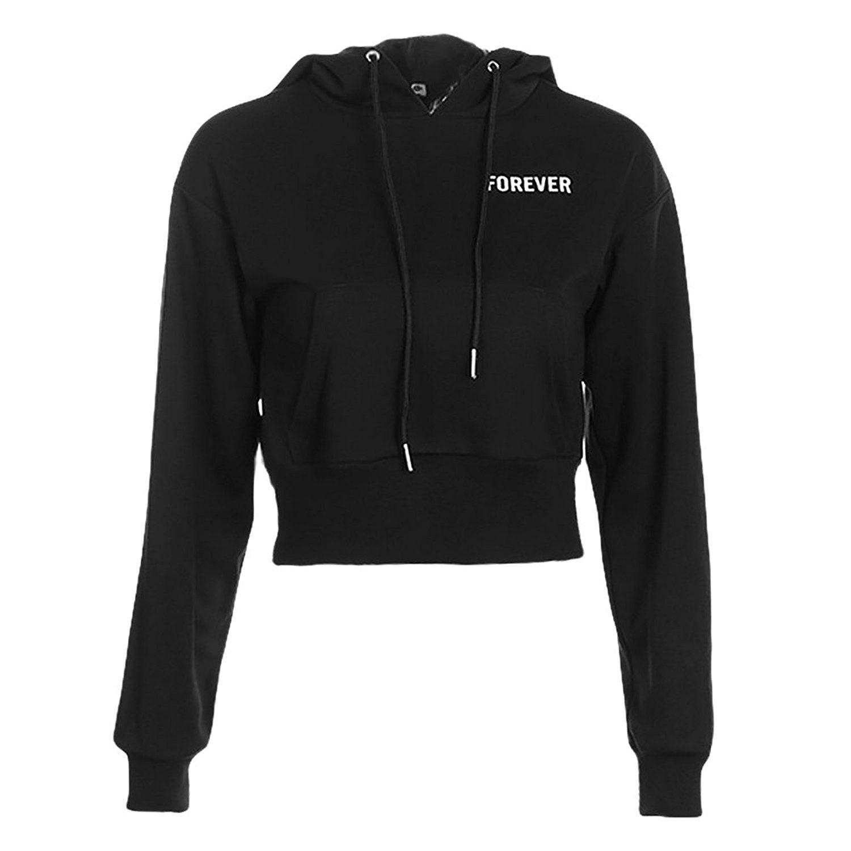 Women Crop Top Hoodie Long Sleeve Sports Hoodie Short Sweatshirt With Drawstring Design Cw187diicct Crop Top Hoodie Fashion Fashion Clothes Women [ 1500 x 1500 Pixel ]