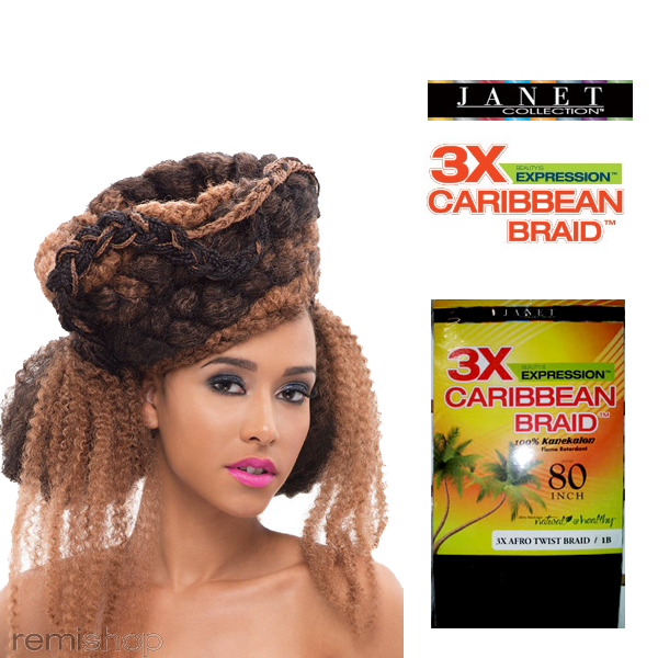 3x Caribbean Braid 3x Afro Twist Braid 80 Color 2 Synthetic