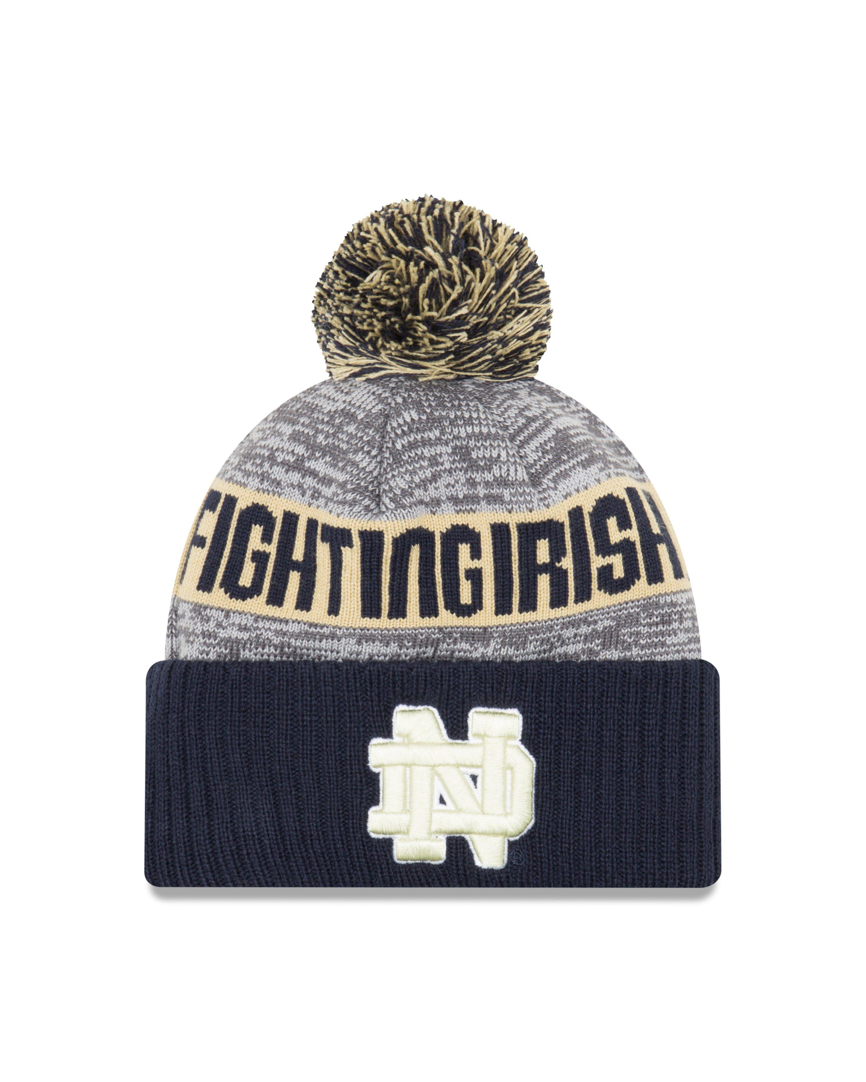 New Era Notre Dame Fighting Irish Sport Cuff Pom Knit Hat  cc957cf21eb