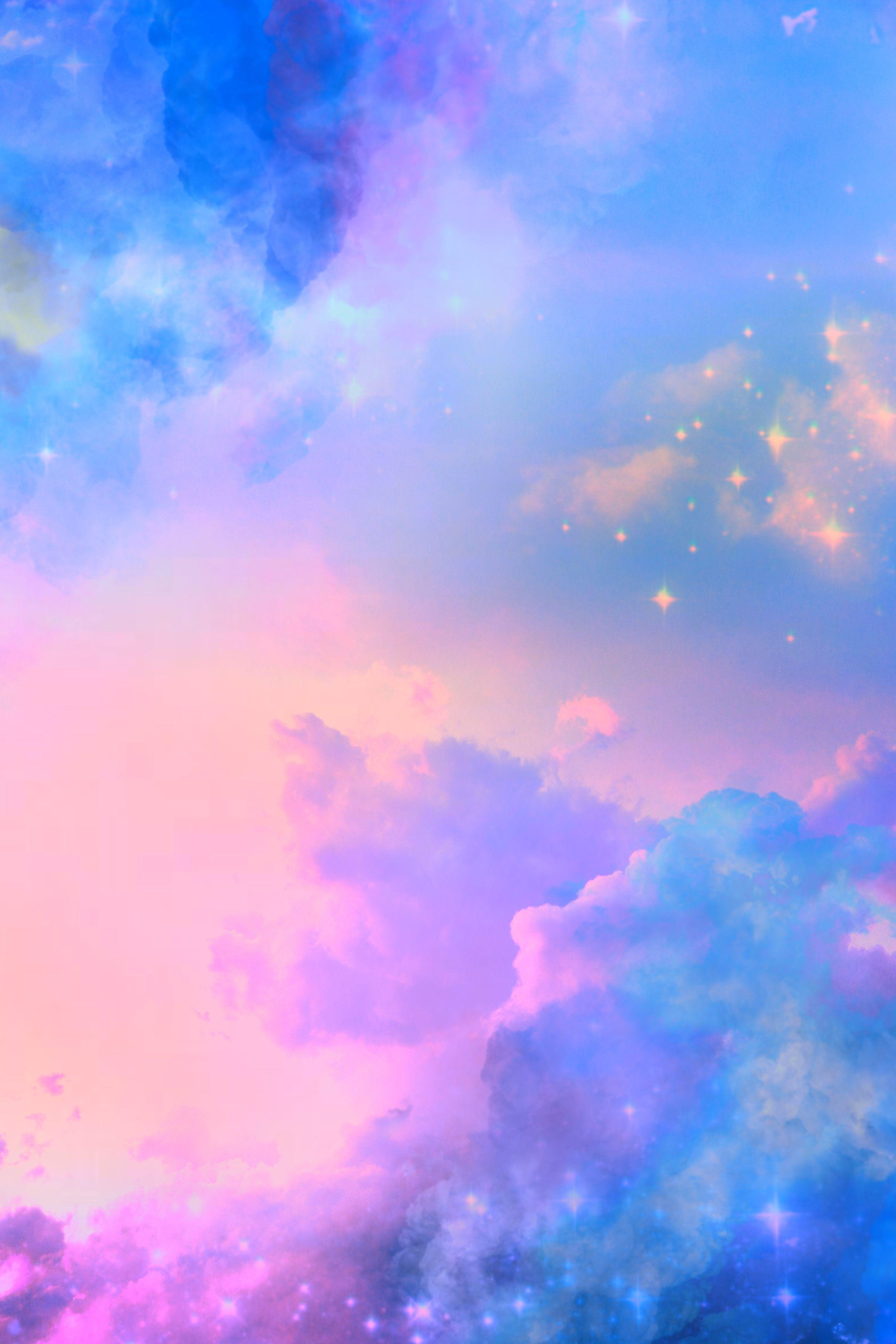 Glitter Sparkle Galaxy Sky Stars Clouds Pastel Sunset Night Pink Blue Landscape Nature Love Pink Wallpaper Pink Wallpaper Blue Wallpapers