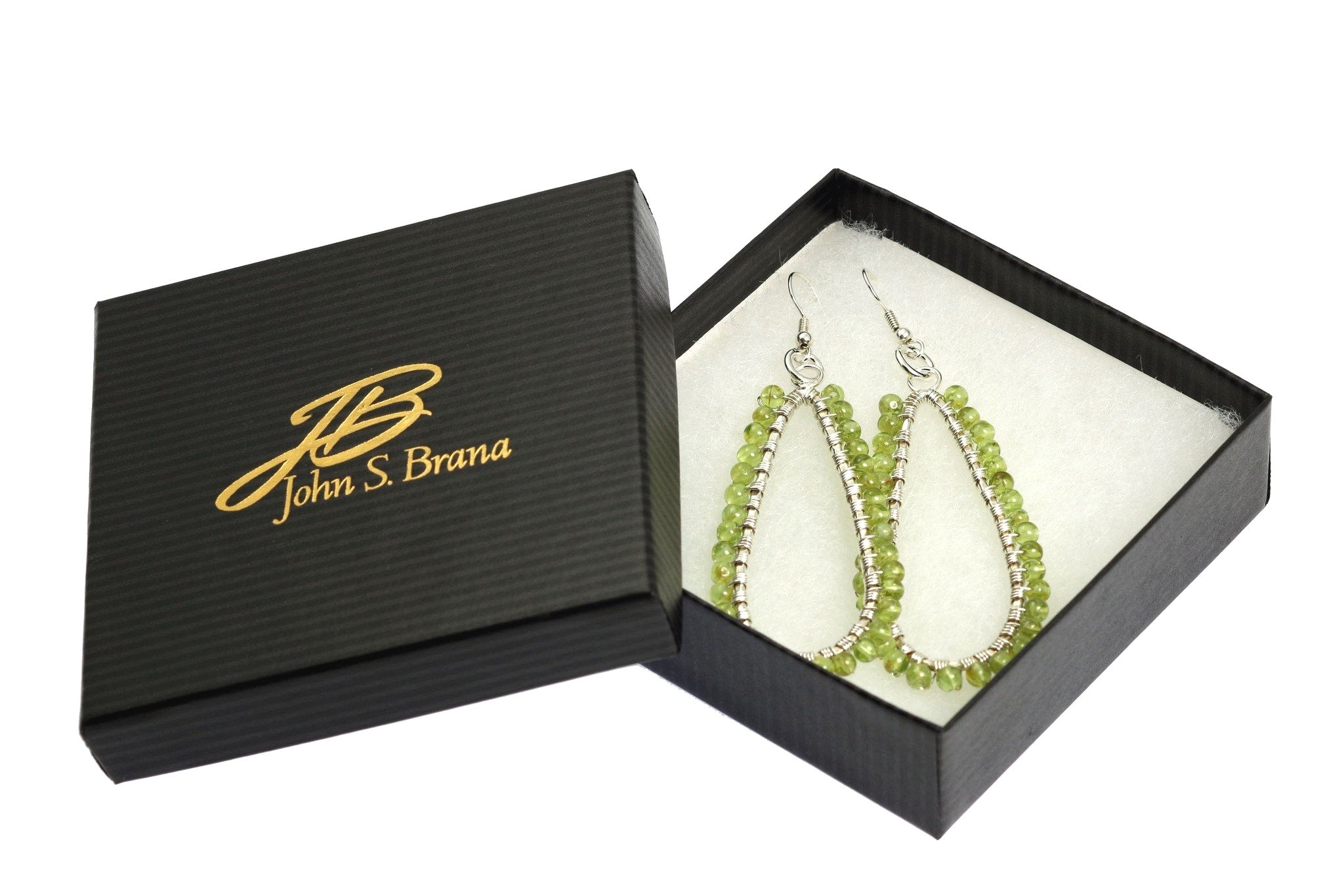 NEW! Fashion-foward Hammered Fine Silver Wire Wrapped Tear Drop Peridot Earrings https://www.johnsbrana.com/products/hammered-fine-silver-wire-wrapped-tear-drop-peridot-earrings