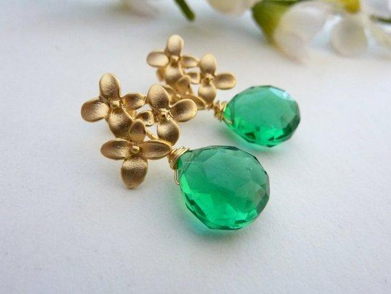Emerald Green Quartz Golden Cherry Blossom Flower Post