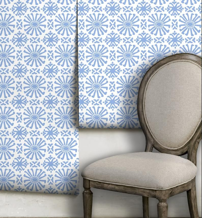 Cusco Mini Clear Blue Peel N Stick Or Traditional Etsy In 2020 Traditional Wallpaper Custom Color Wallcovering Pattern