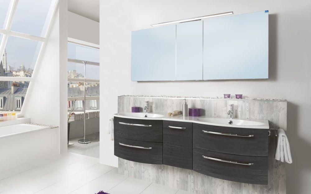 Marlin Spiegelschrank 3090 in Robinie dunkel Optik braun Holzdekor Glas