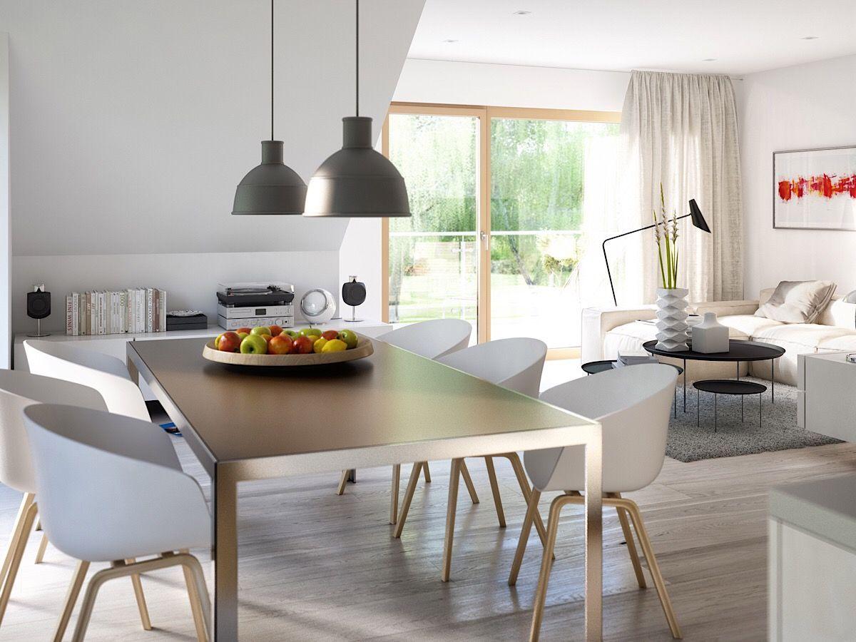 Wohn-Esszimmer modern einrichten mit großem Esstisch unter