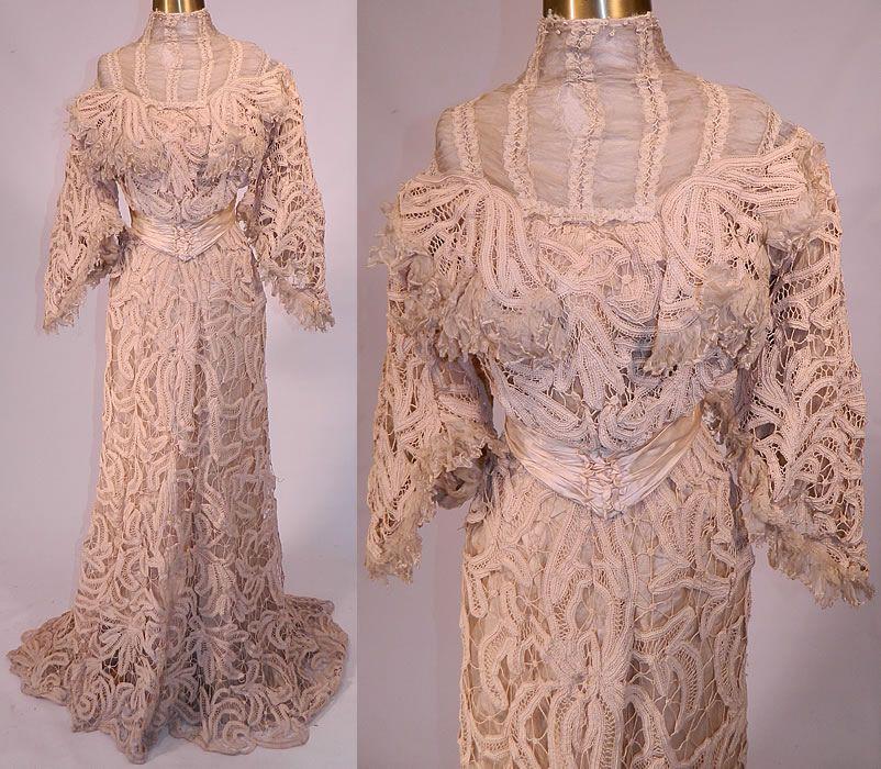 Vintage Belle Epoque Battenburg Tape Lace Wedding Gown Dress Blouse ...