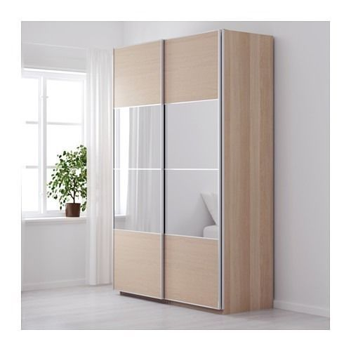 IKEA PAX 150X236cm WARDROBE WHITE STAINED OAK AULI MIRROR