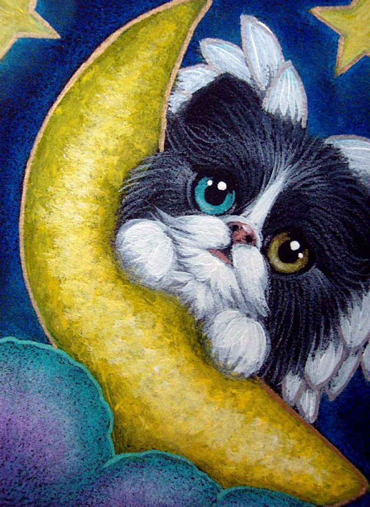 """""""Tuxedo Angel Kitten with Odd Eyes and Playing with her Moon"""" par Cyra R. Cancel (736×1007)"""