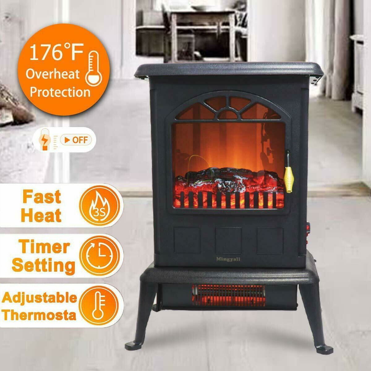 Mingyall 1500w Fire Flame Stove Free Standing Electric Fireplace