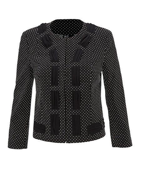 25c64902c80 cabi Black & White Polka Dot Jacket - Women | zulily | FASHION ...