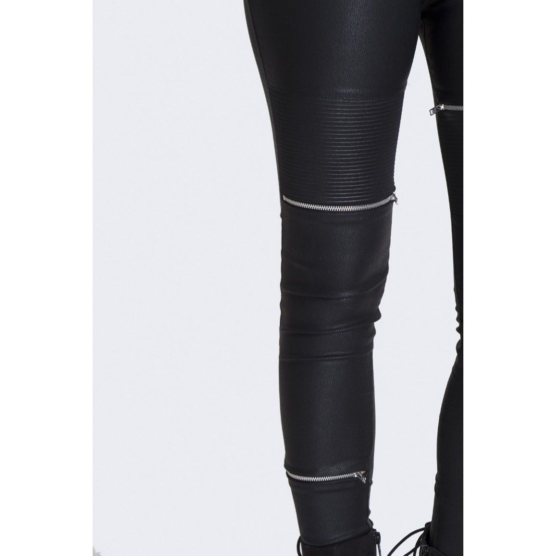HOTMESS BLACK PU BIKER LEGGINGS WITH ZIP DETAIL - HOT!MESS HOT!MESS Fashion UK