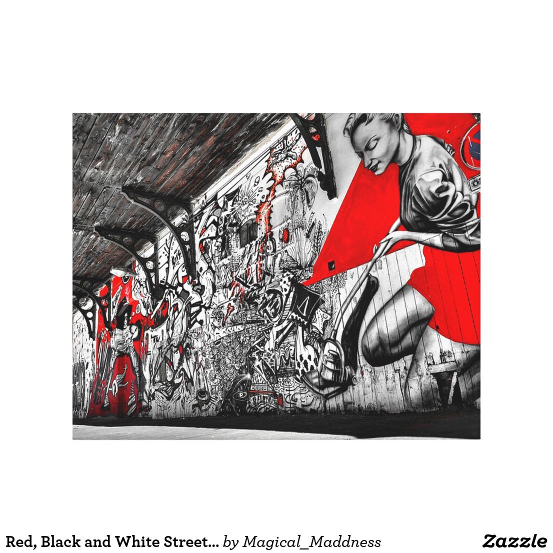 Red black and white street art graffiti wall art in walls