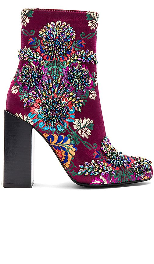 26b47f775 Shop for Jeffrey Campbell Beaded Stratford Bootie in Wine Multi Floral  Brocade at REVOLVE. Free 2-3 day shipping and returns, 30 day price match  guarantee.
