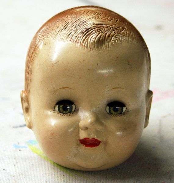 Ideal DOLL HEAD-Vintage Creepy Doll Parts With by VintageSupplyCo
