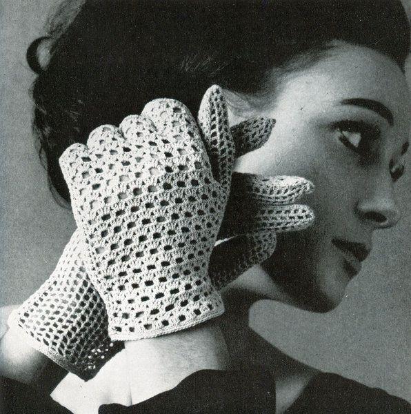 Gloves Ladies Cotton Crochet - vintage crochet pattern
