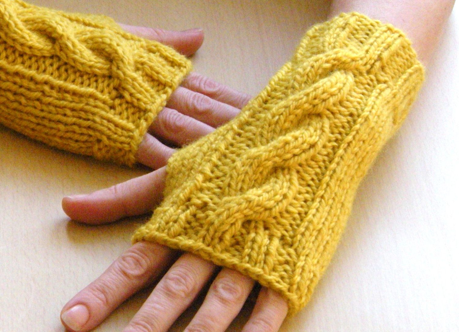 Knitting fingerless gloves in the round - Saffron Wrist Warmers Cable Knit Fingerless Gloves Fingerless Mittens Gold Yellow Knit Gloves