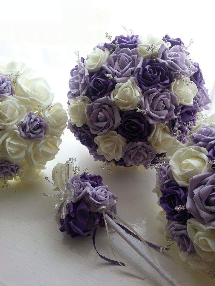 Artificial Bridal Bouquet Velvet Foam Wedding Flowers Purple Lilac Crystal