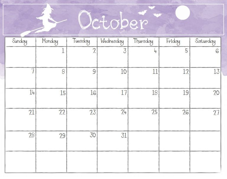 Watercolor October 2018 Calendar 2018 Calendar Template