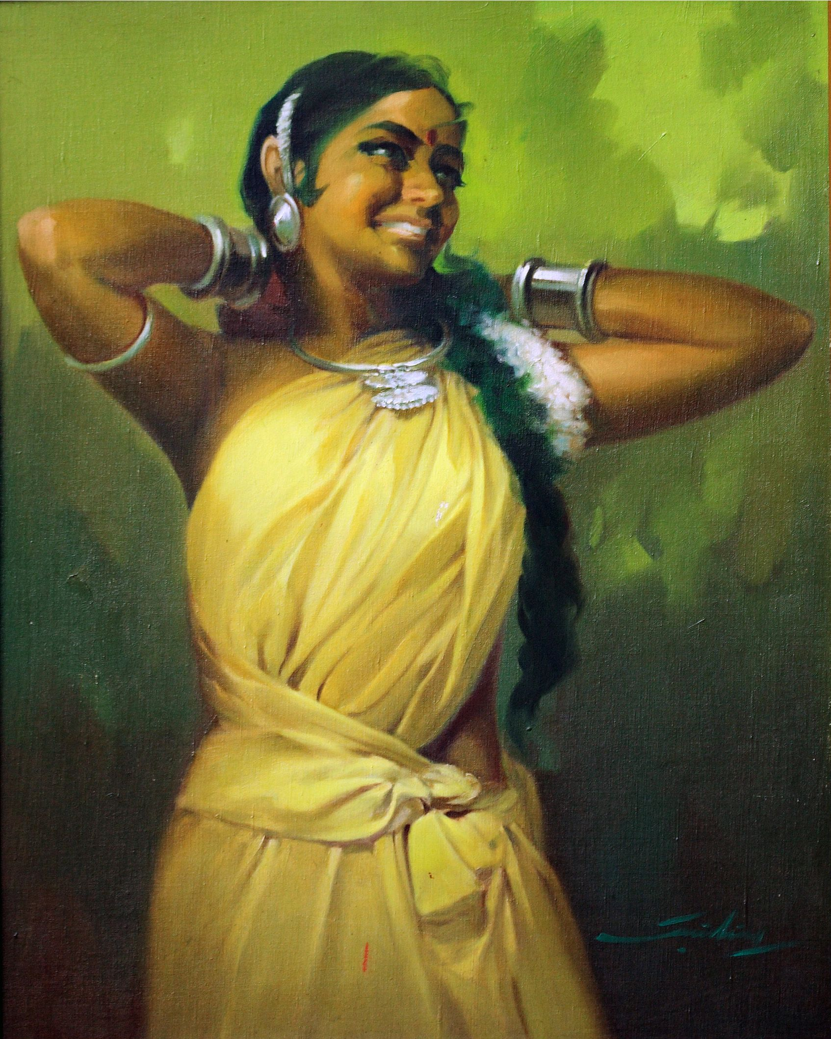 Sneha - Village Belle Oil Canvas John Wilkins Indian