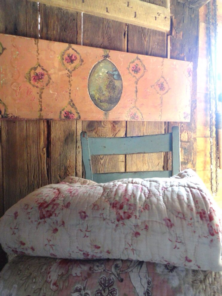 Warm Barn Wood Quilts And Faux Wallpaper Painting By Jennifer Lanne
