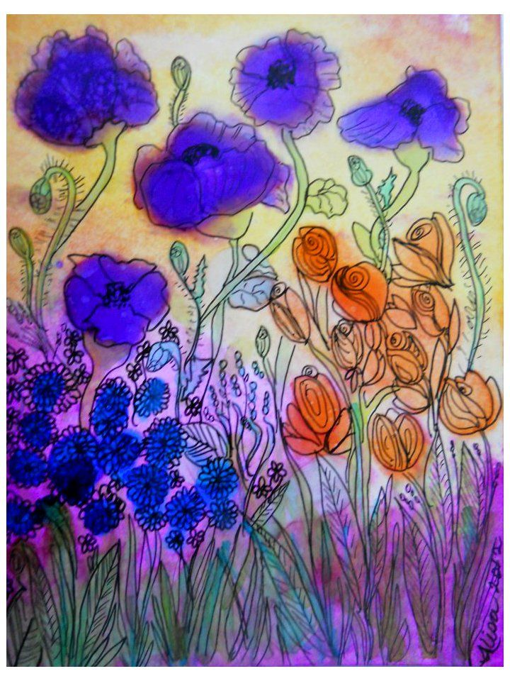 Purple Poppies  alcohol in and microns  by Alisa Heydon 2011