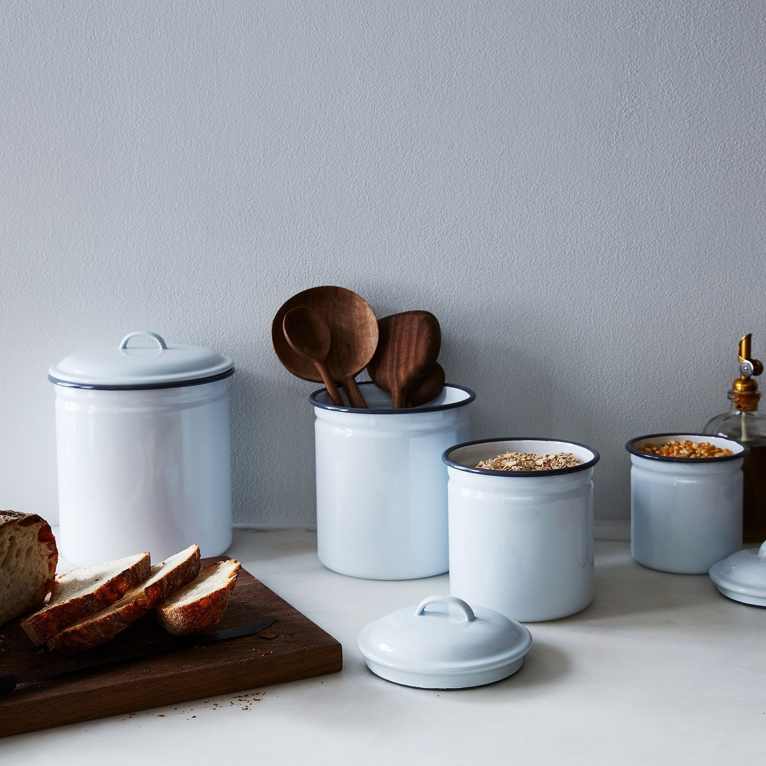 White & Grey Enamel Kitchen Canisters (Set of 4) | Kitchen canister ...