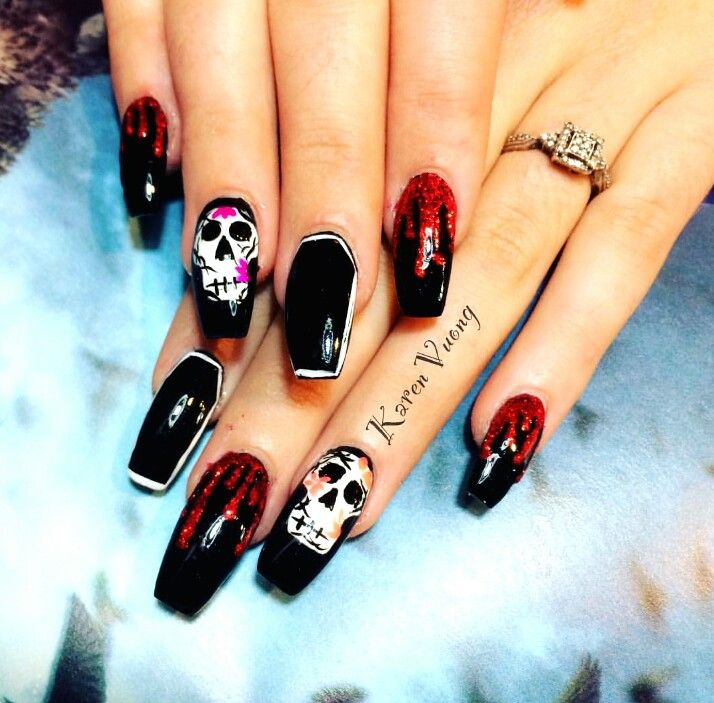 Halloween coffin shaped nails | Coffin shape nails, Nails ...