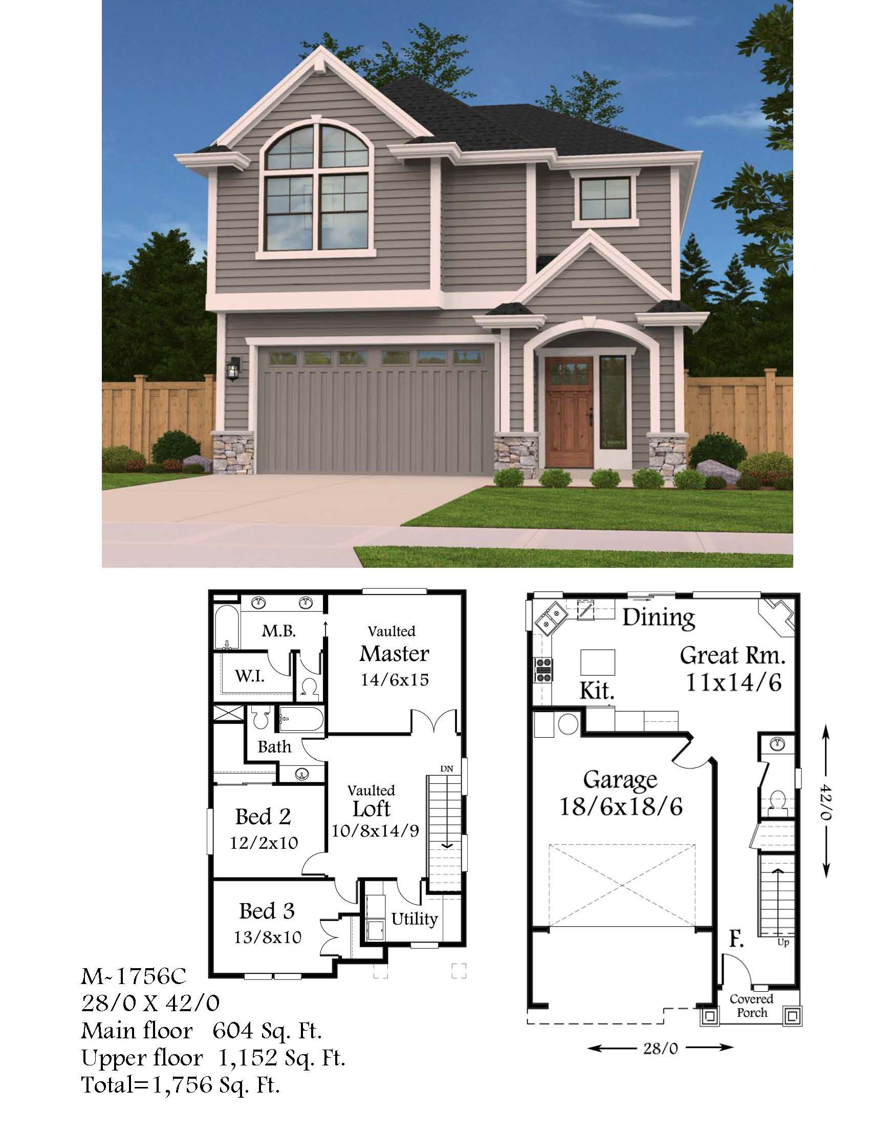 Lombard Poplar Small House Plan W Garage Small Modern Home Plans Country Cottage House Plans House Plans Mansion Traditional House Plans