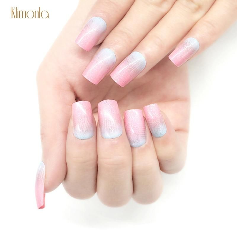 24pcs Pink Blue Gradient Long Length Press On Nails