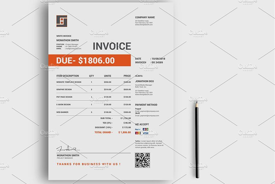 Invoice Simple Brochure Template Stationery Templates Branding Kit