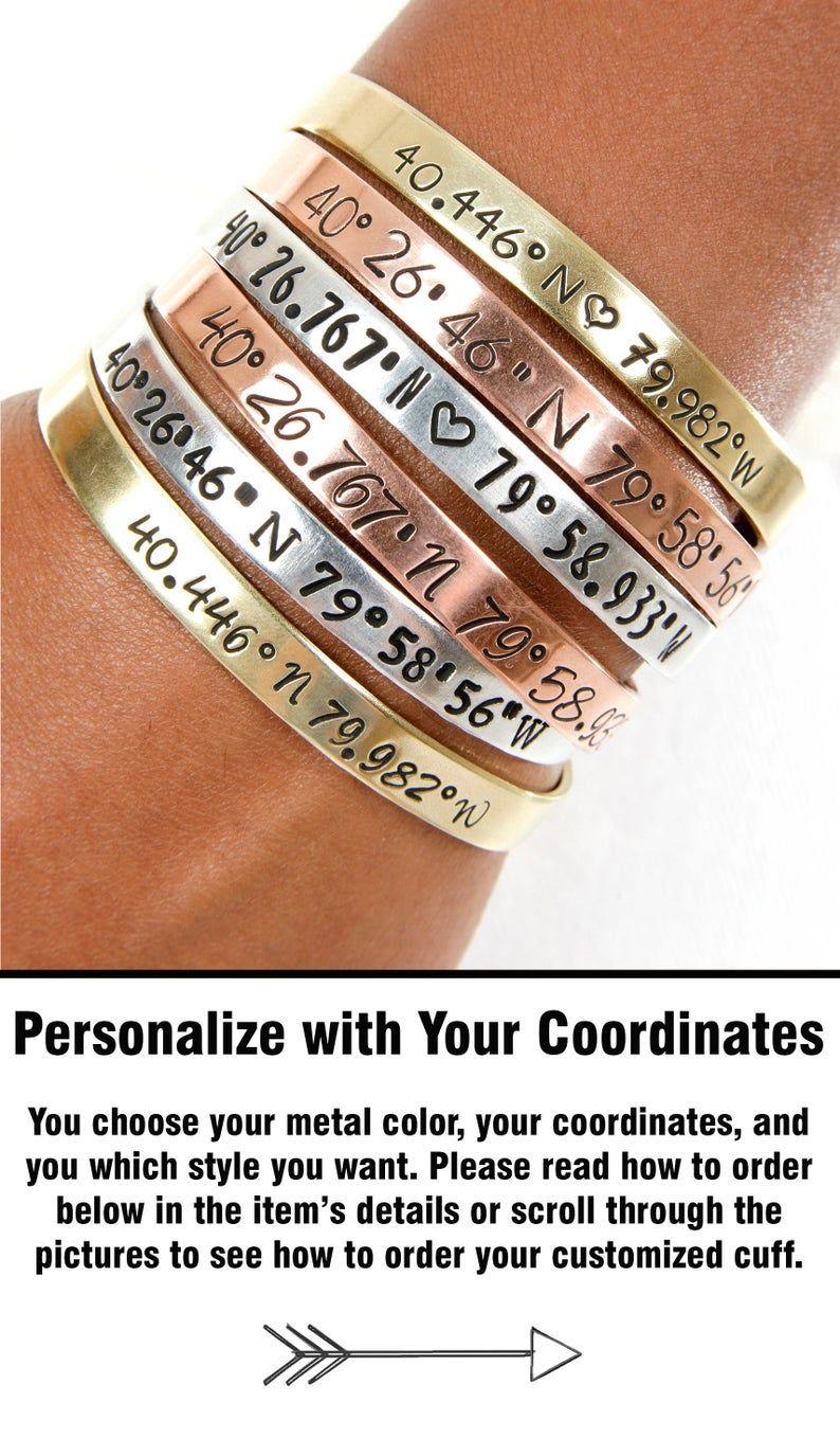Personalized Coordinate Metal Cuff Bracelet Latitude Longitude Anniversary Jewelry Gift