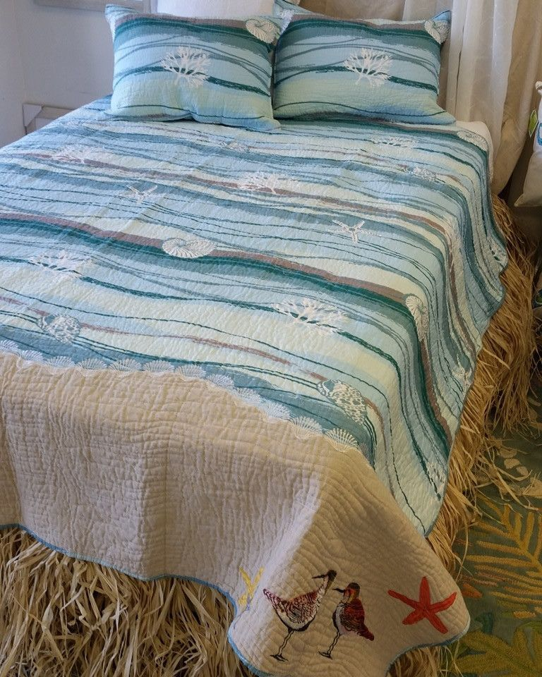 """Sandpiper's Beach highlights your favorite day at the beach, water and waves to glorious beach where embroidered Sandpipers stand. Quilt set includes shams. Twin set has 1 standard sham, 20x26"""". Full/"""