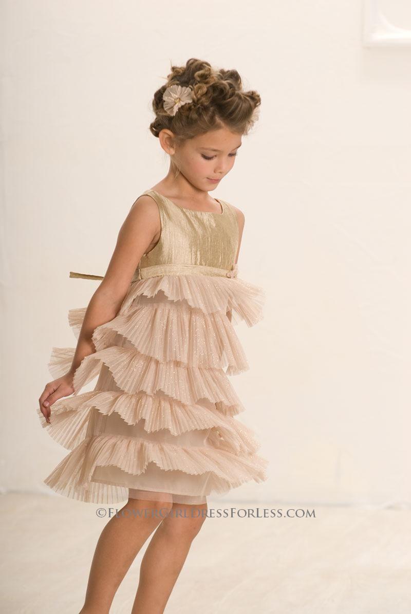 Bc 164 Biscotti Girls Dress Style 164 Gold Size 8