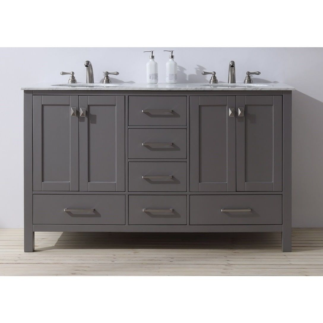 Stufurhome 60 Inch Malibu Grey Double Sink Bathroom Vanity | Overstock.com  Shopping   The