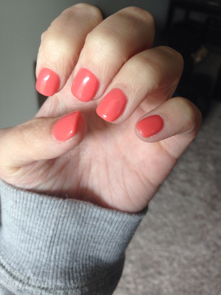 coral squoval short acrylic nails s t y l e square