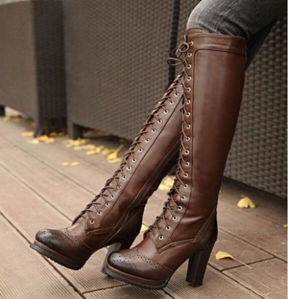 Ladies Retro Real Leather Lace Up Block Heel Punk Emo Gothic Knee High Boots  #88