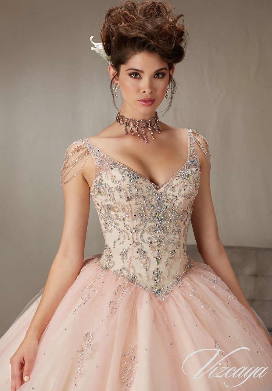 89065 beading and embroidery on tulle with chandelier crystal 89065 beading and embroidery on tulle with chandelier crystal sleeves quinceanera dress aloadofball Choice Image