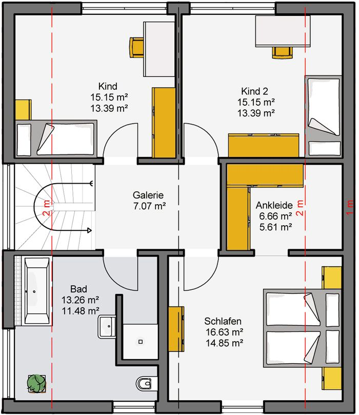 grundriss dachgeschoss camaro fertighaus b denbender hausbau tini house house plans. Black Bedroom Furniture Sets. Home Design Ideas