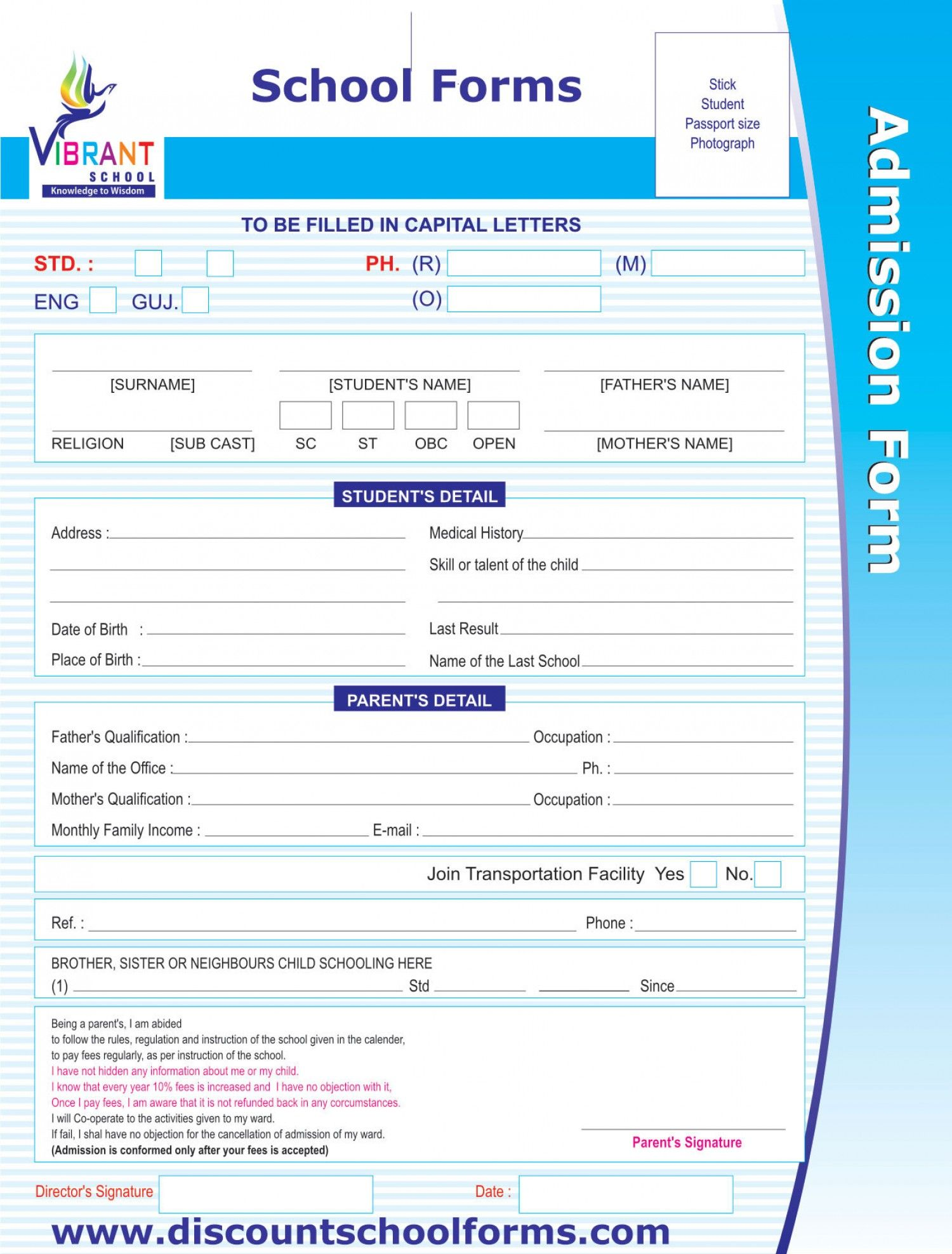 School Forms Infographic School Forms School Admission Form School Application