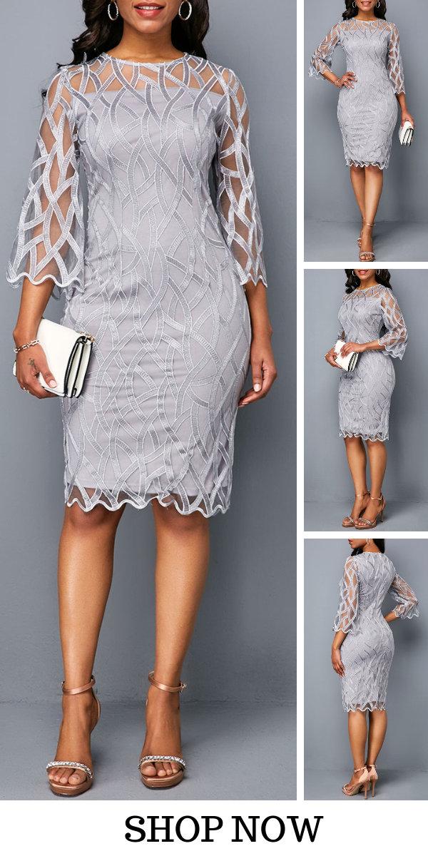 USD34 06  Round Neck Three Quarter Sleeve Sheath Dress, freeshipping worldwide and easy returns, coupons $6 off over $60, $9 off over $90, code liligal2019  Click and find the 2019 dresses trends in liligal  is part of Cute nails Almond Beauty - Cute nails Almond Beauty