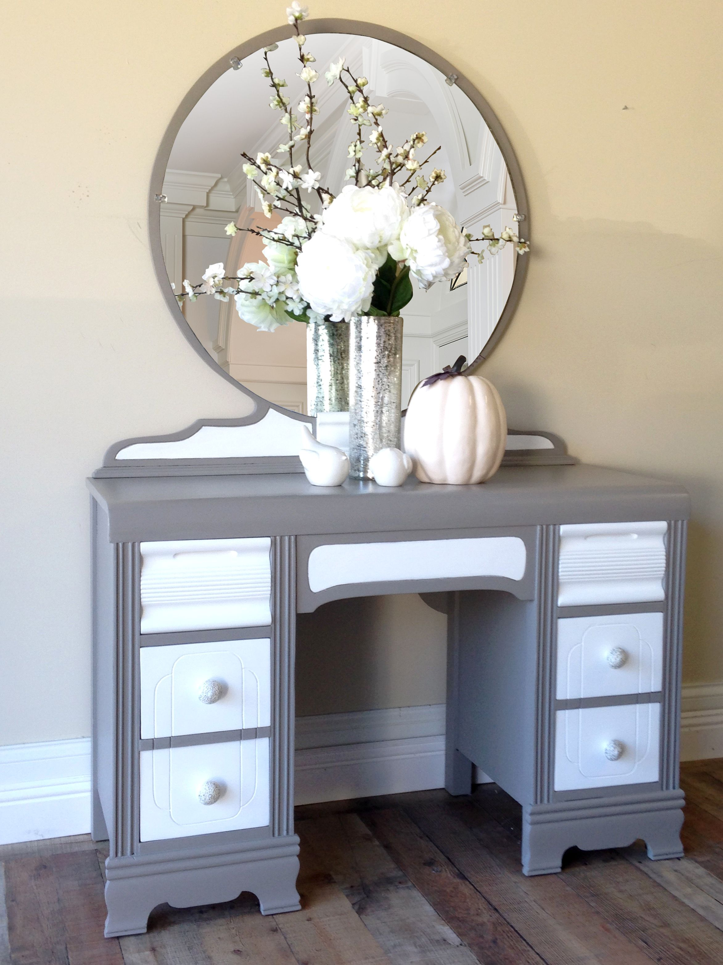 distressed mirrored furniture. Whimsied \u0026 Distressed Vintage Vanity With 30 Inch Diameter Mirror. Hand Painted ASCP French Linen Mirrored Furniture R