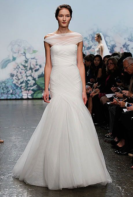 Anne Hathaway's Wedding Dress: Get the Look. Off-the-shoulder by Monique Lhuillier. (Click through to see 11 more!)