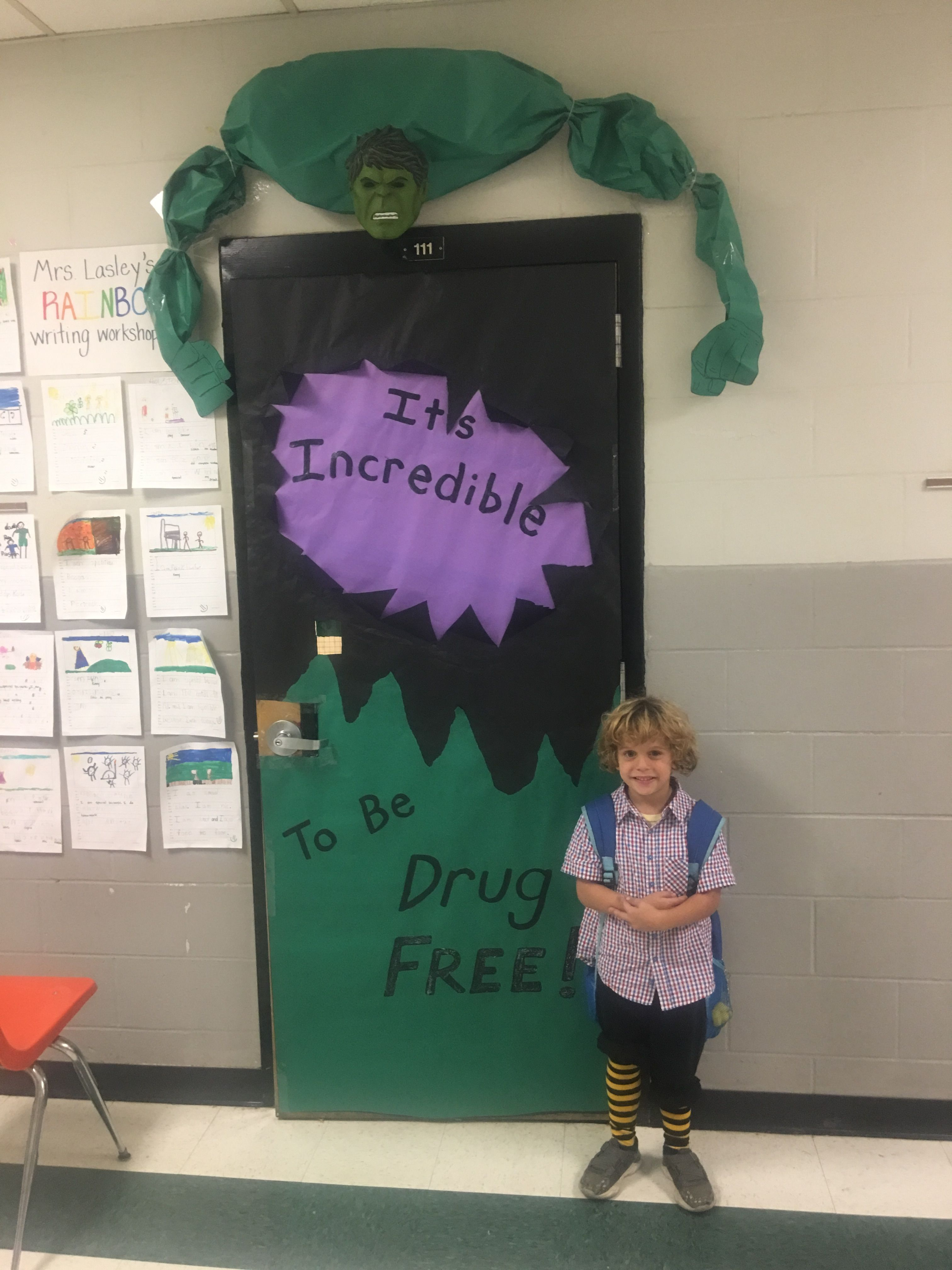 Incredible Hulk Door Drug Free Red Ribbon Superhero